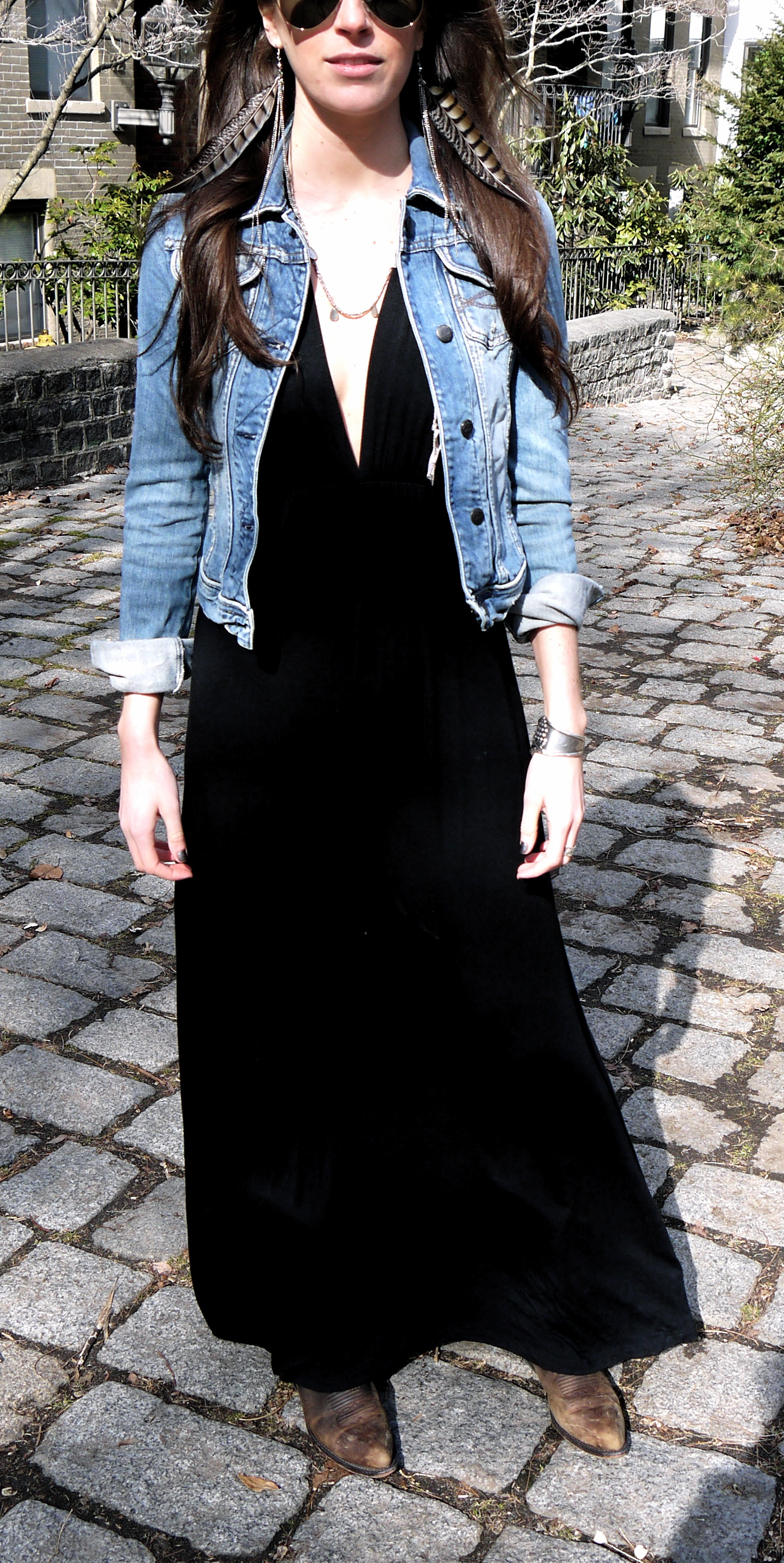 Black dress jean jacket - A