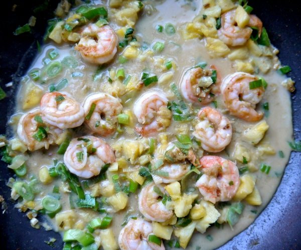 Add in the pineapple, coconut milk and fish sauce and reduce heat to a ...